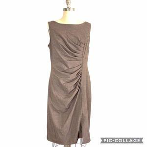 Calvin Klein S/L Pleated Slit Stretch Sheath Dress